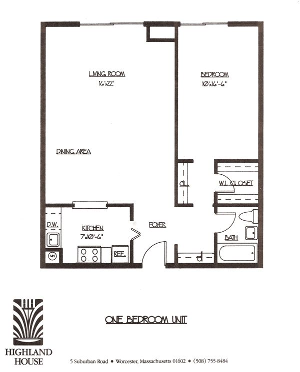 Highland House Apartments   Worcester MA   1 and 2 bedroom luxury apartments    One Bedroom Floor Plan. 39 best 1 bedroom apt images on Pinterest   Apartment ideas