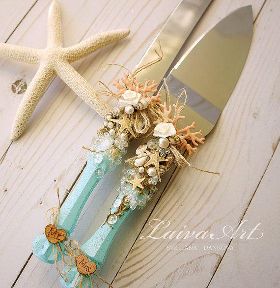 Beach Wedding Cake Server Set & Knife Beach Cake Cutting Set