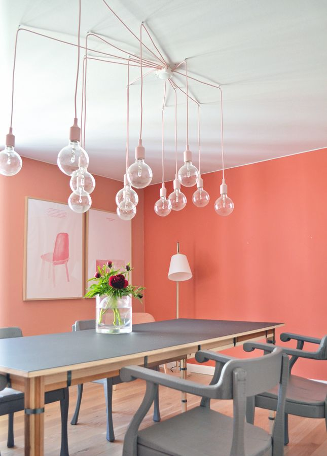 So fun! Love the pink wire against the white ceiling.