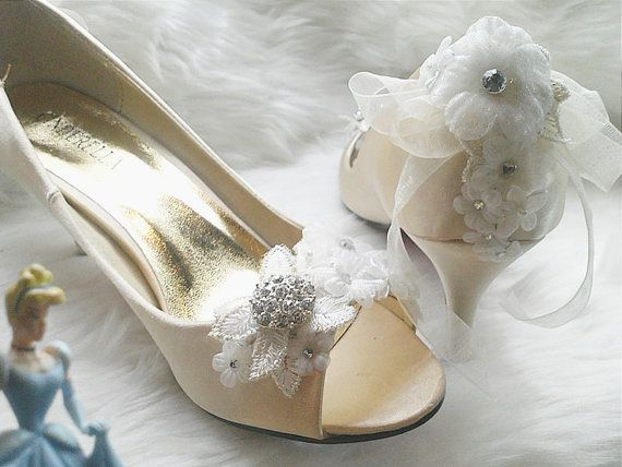 Cinderella  champagne colour crystal white flower french lace bridal wedding heels / bridesmaid shoes (BS1223296)