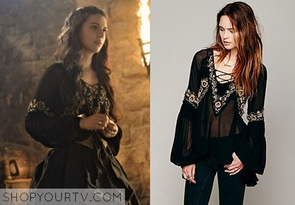 Mary Queen of Scots (Adelaide Kane) wears this sheer chiffon blouse with lace-up neckline and embroidery and bead patterned trim in this wee...