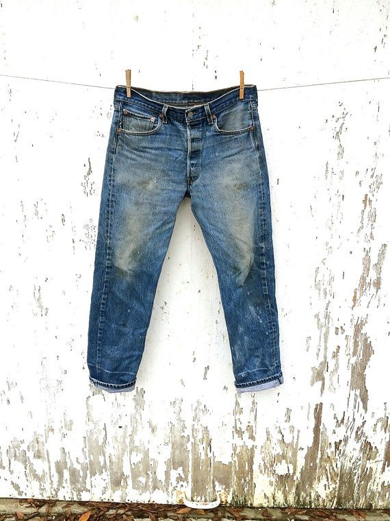 LEVIS 501 Jeans 32 Waist Destroyed Distressed by HuntedFinds