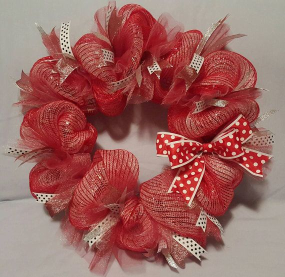 Check out this item in my Etsy shop https://www.etsy.com/listing/502116259/red-and-white-deco-mesh-wreath-ready-to