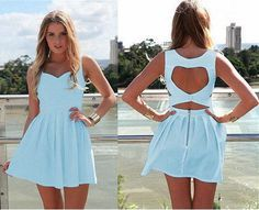 This short dress has a little pretty princess style. You will look so cute and pretty in this dress because of the A-line and the backless pattern. And pure color makes it look so simple but still att