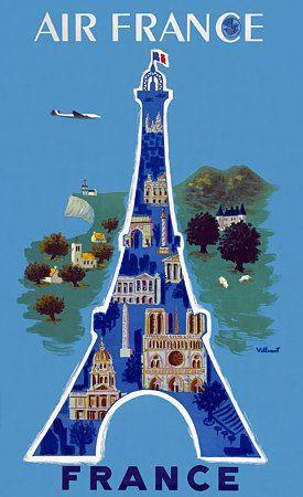 Air France, Eiffel Tower, c.1952