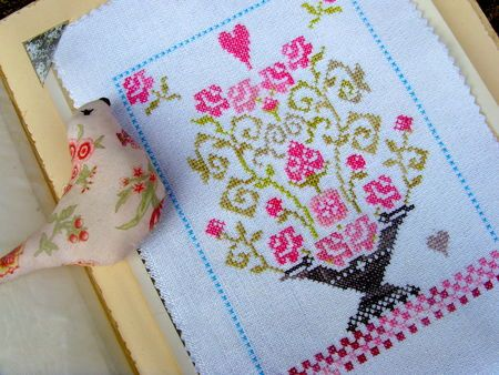 Bouquet roses cross-stitch - free