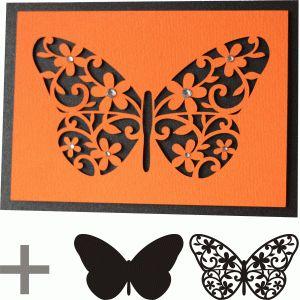 Silhueta Design Store - Ver Projeto # 76179: 5x7 borboleta cartão floreio