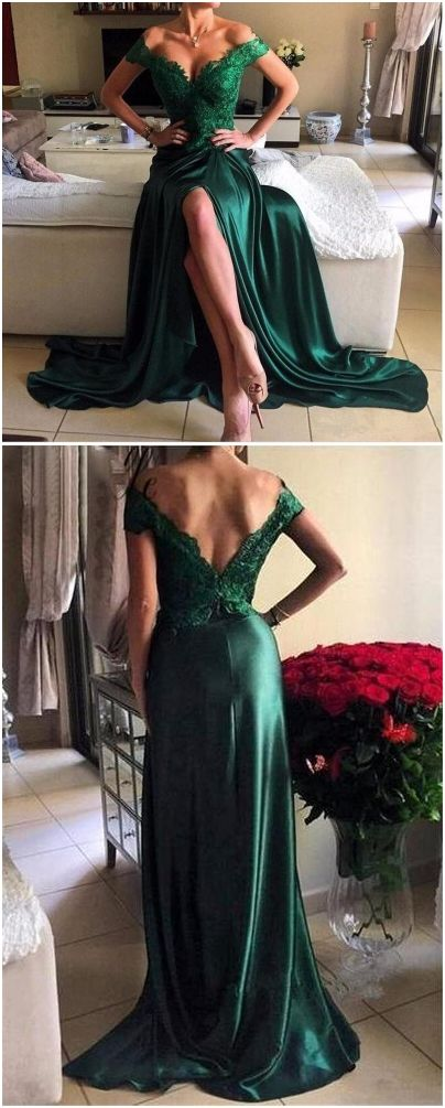 Beading Lace Off-the-Shoulder Stretch Satin Prom Dresses 2017