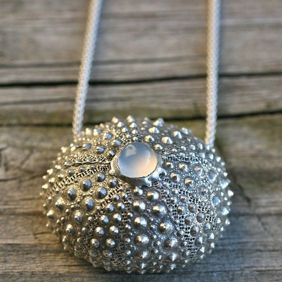 Beautiful Sterling silver Sea Urchin Necklace by zulasurfing, I love this woman's work...