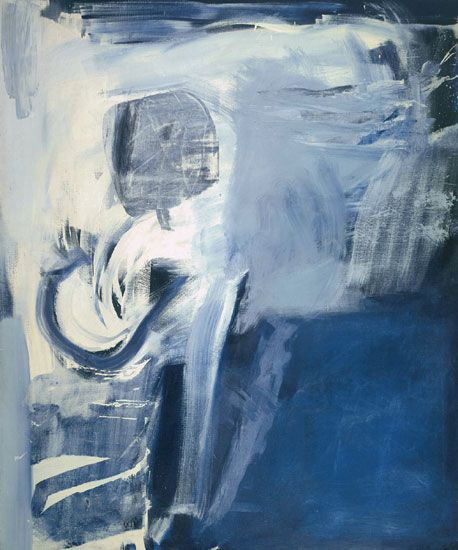 Thermal (1960) by Peter Lanyon. At the bottom of the painting, a thermal is beginning to force its way up through the sky below the glider, spiralling in white strokes through grey-blue air - weightless and yet terrifically strong. Then higher up, where the brushstrokes are looser and more fragile, comes the sense of a weakening air current, as if the glider was poised between rising and falling.