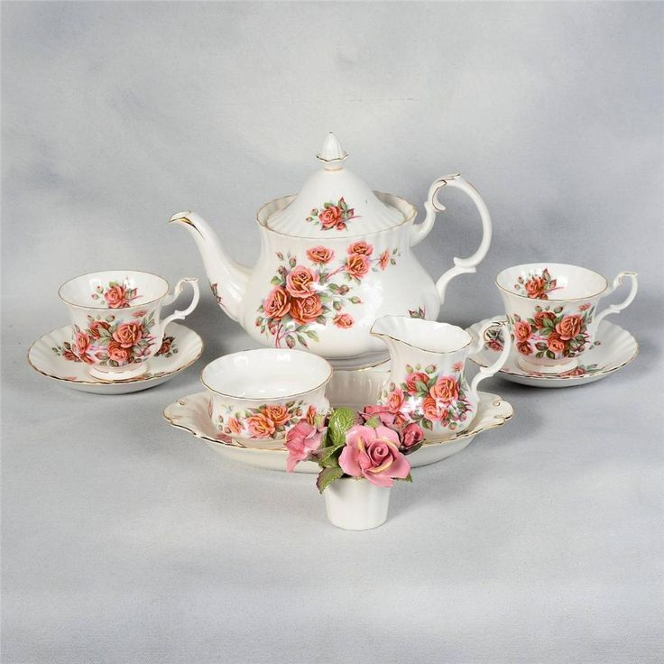 "ROYAL ALBERT ""CENTENNIAL ROSE"" TEA SET - 4 CUPS & SAUCERS, TEAPOT, CREAM/SUGAR  in Pottery & Glass, Pottery & China, China & Dinnerware, Royal Albert 