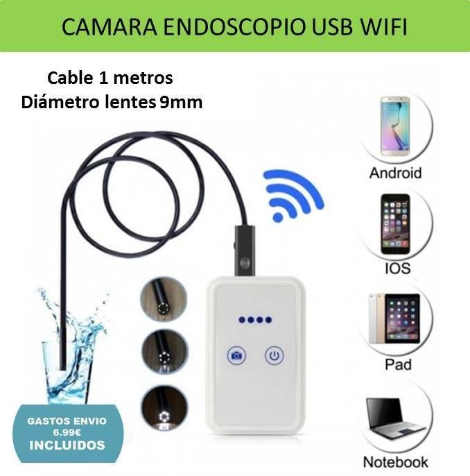 Electronica y tecnologia: video camara endoscopica tuberias WIFI Android iPhone 1 metro cable flexible sumergible