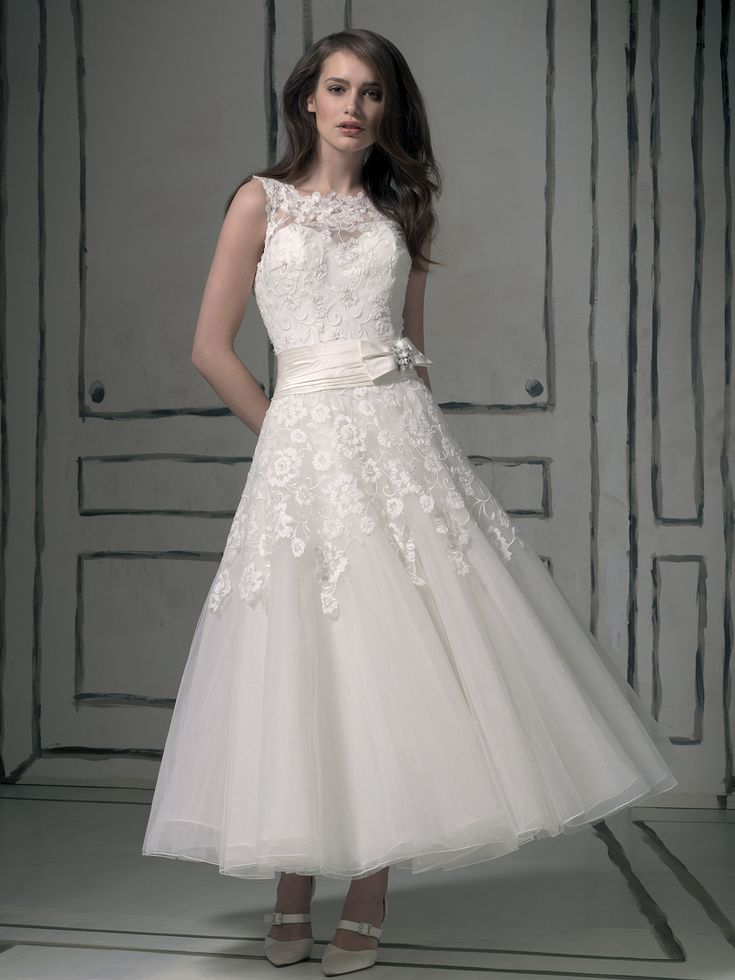 1950s tea length, lace wedding dress from Justin Alexander