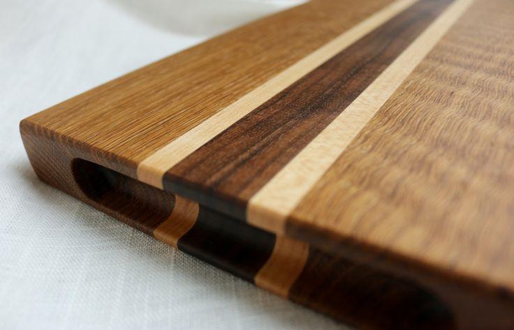 Oregon White Oak, Walnut and Maple Hardwood Cutting Board by FreshTracksShop on Etsy
