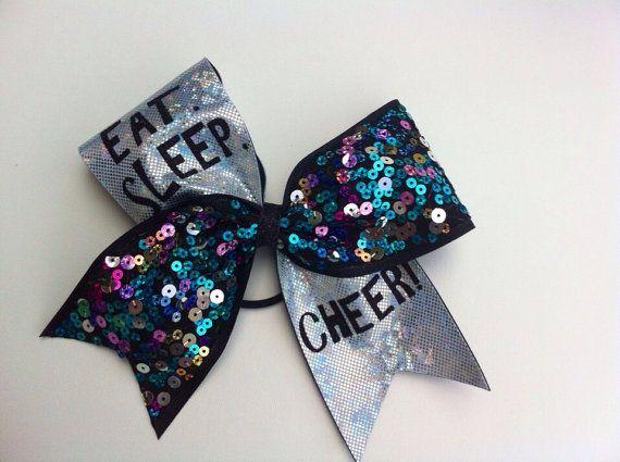 Blue sequin Eat Sleep Cheer Cheerbow  Cheerleading