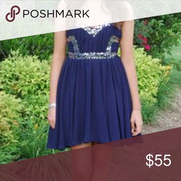 Navy Sequined Strapless Homecoming dress Navy blue Sequined Strapless Homecoming dress only worn once size 7 City Studio Dresses Prom