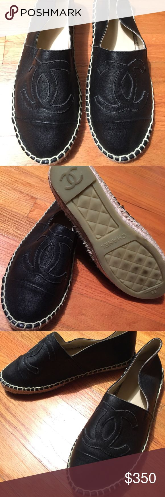 Chanel Espadrilles Black leather espadrilles. Run small. I am a true 8 and these feel like a 7. Bought through consignment WITH NO AUTHENTICATION. For sale OBO AS IS. No Trades and no low ball offers. Just want to make as close to what I spent on them. Thank you! CHANEL Shoes Espadrilles