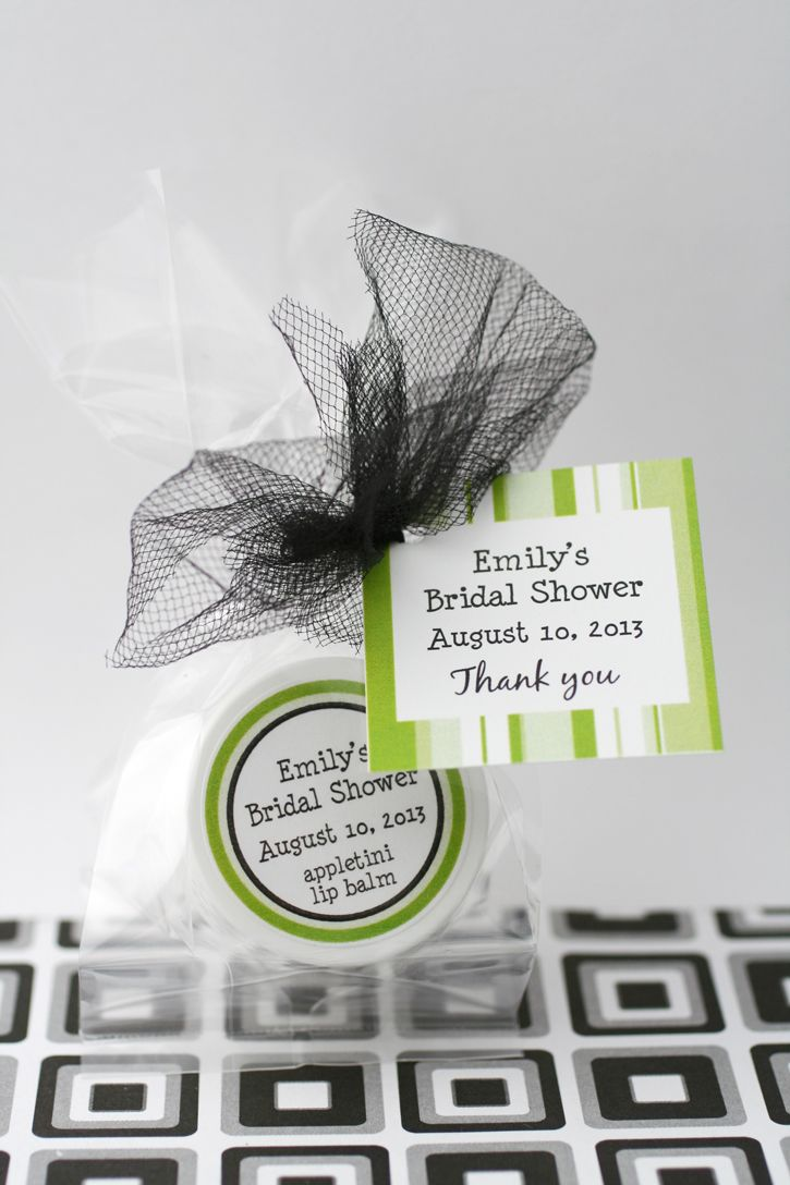 Thank your bridal shower guests with personalized lip balm favors in your favorite cocktail flavors. Try Appletini, or Mimosa balms for your bridal tea or lingerie shower.