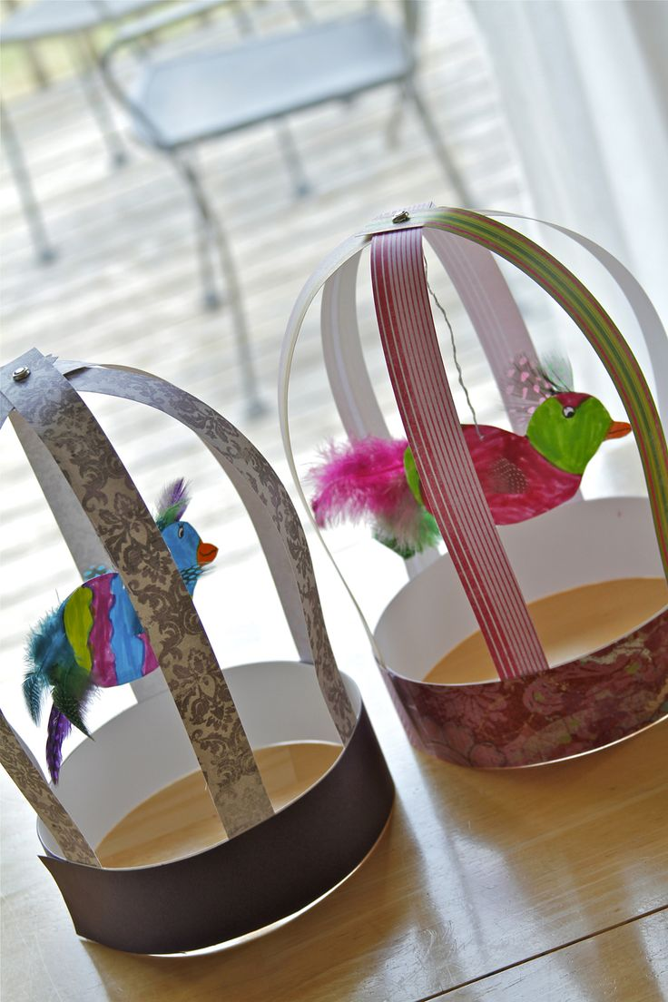 Holly's Arts and Crafts Corner: 2012: Mommy Art Camp--Paper Bird Cages