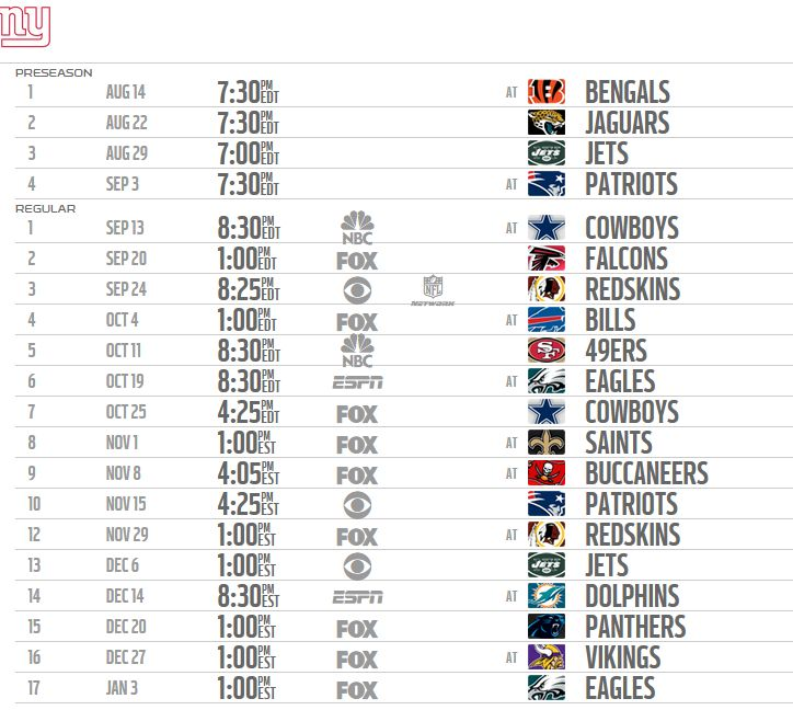 #Giants Season Schedule 2015