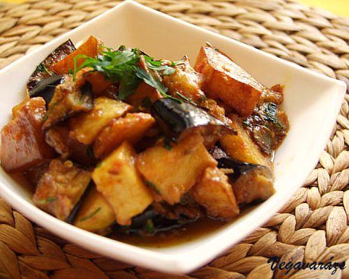 Alu began – azaz krumpli-padlizsán szabdzsi.Rendkívül gyorsan elkészíthető, ízletes indiai főétel