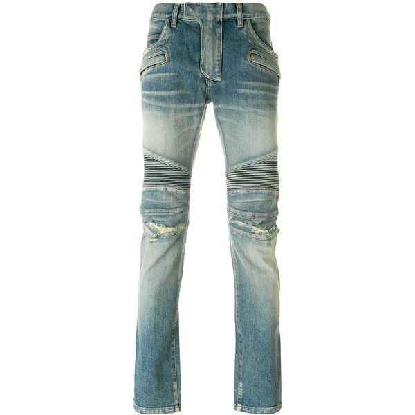 Balmain distressed biker jeans ($1,282) ❤ liked on Polyvore featuring men's fashion, men's clothing, men's jeans, blue, mens slim fit jeans, mens destroyed skinny jeans, mens super skinny jeans, mens slim jeans and mens destroyed jeans