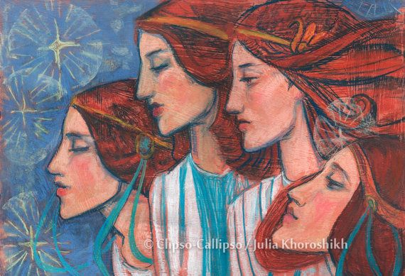 """Tribute to Art Nouveau by ClipsoCallipso     Artwork was inspired by one old black & white graphic work (illustration by A. Garth to """"On Christ's Nativity"""", by John Milton). Four beautiful red haired angels with feminine faces, dressed in white gown, blue starry sky as a background. Fine art, pastel painting, blue, terracotta, white and light yellow colors. Soft pastels, 2015  © Clipso-Callipso / Julia Khoroshikh #ginger #auburn #redhair #angels #softpastels"""
