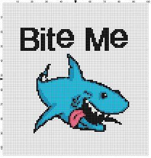 Bite Me  Shark Cross Stitch Pattern. Great shark week gift