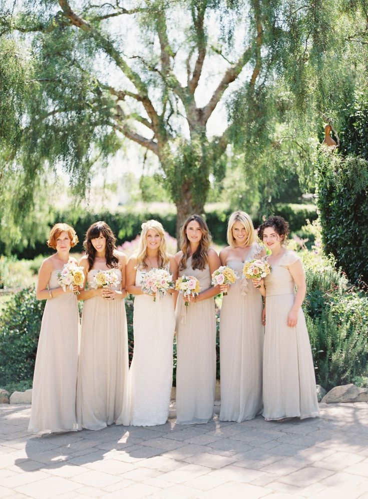 champagne bridesmaid's dresses. Pulling a 180 I'm loving champagne for a fall weddig