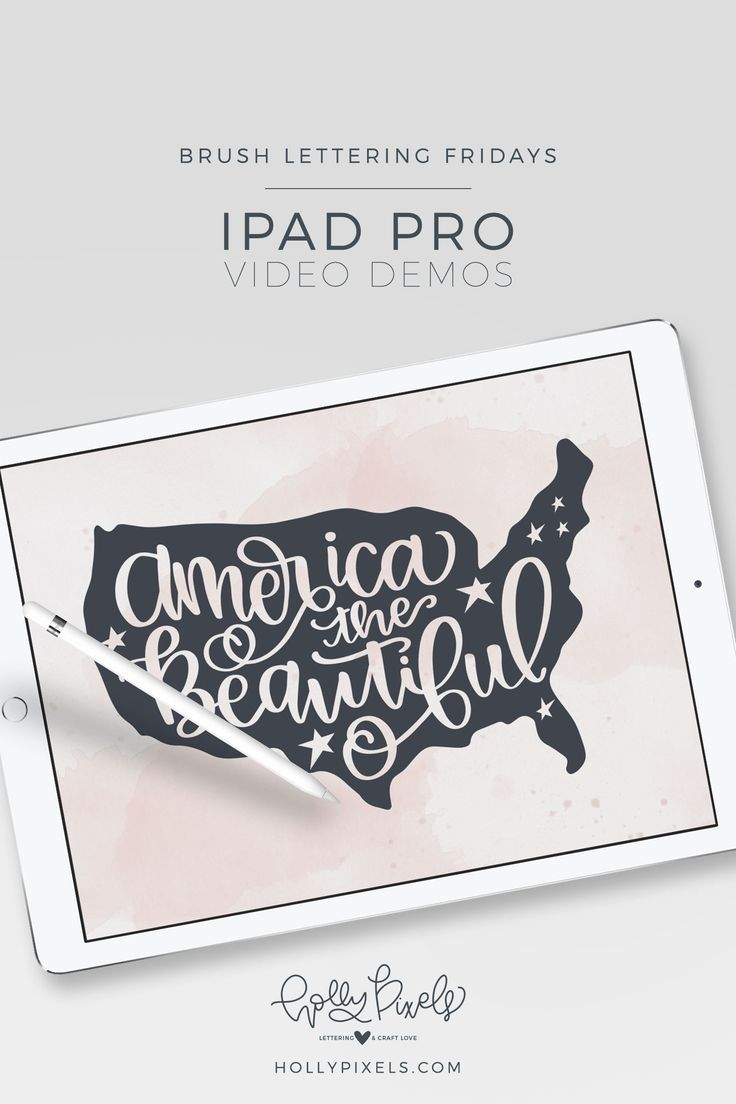 """It's time for another Brush Lettering Friday. This week, our brush lettering quote is """"America the Beautiful"""" and is being showcased using the Procreate app and Apple Pencil. Watch my brush lettering video below and subscribe to my YouTube channel!"""