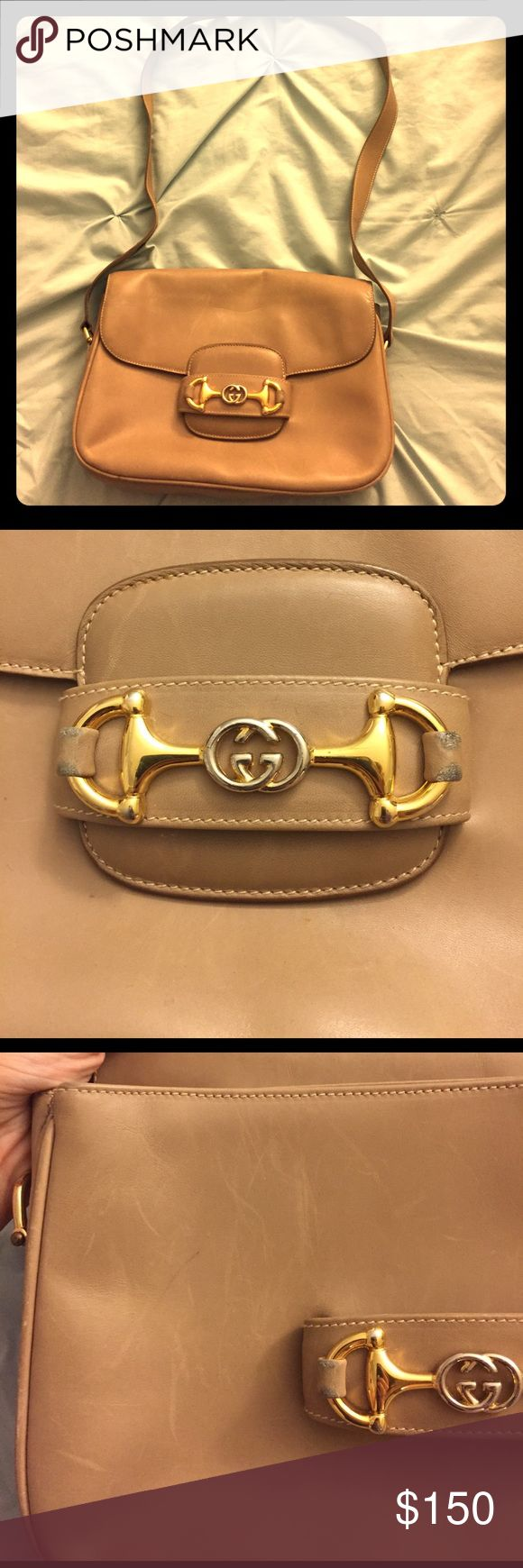 Vintage Gucci purse Tan vintage authentic Gucci purse. Gold hardware. Great condition, some scratches on leather. Strap is adjustable Gucci Bags Shoulder Bags