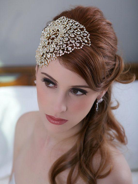 Gold Crystal Bridal Headpiece, Art Deco Crystal beaded head piece, Crystal Hair Piece Hair Comb, Crystal Wedding Hair Accessories, STYLE 143 on Etsy, $110.00