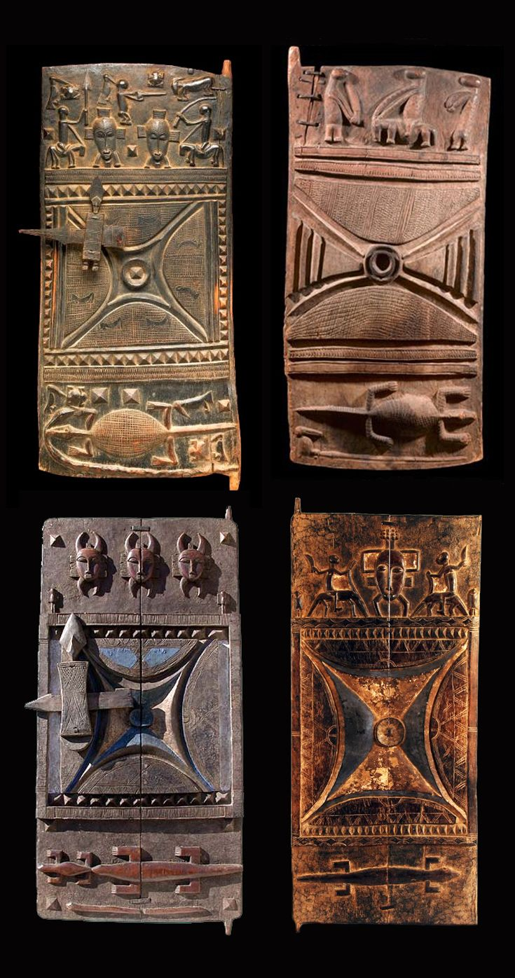 West Africa | Carved wooden doors from the Senufo people