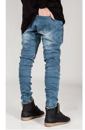Denim Fashion Skinny Mens Jeans Pleated New Men's Slim Fit Trousers Biker Pants | eBay