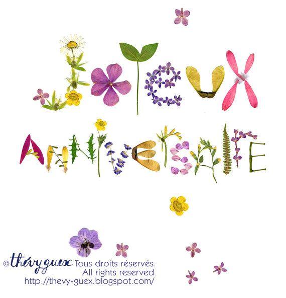 Joyeux Anniversaire herbier fleur carte de par thevysherbarium