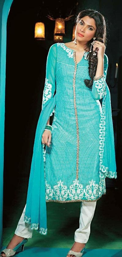$110.84 Aqua Blue Faux Georgette Churidar Salwar Kameez 24358