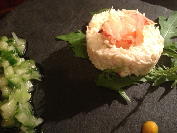 Crab and Lobster Timbale with Cucumber Salsa