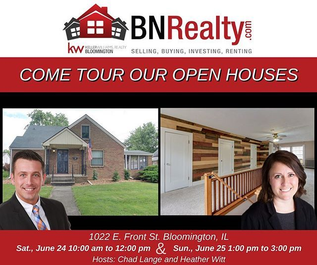 -->> OPEN HOUSES <<-- When: Saturday, June 24 from 10:00 am to 12:00 pm and Sunday, June 25 from 1:00 pm to 3:00 pm Where: 1022 E. Front St. Bloomington, IL 3 Bedrooms / 1.5 Bath *Features: Two story, 3 bedroom, 1.5 bath, all-brick home in East Bloomington. The home has a screened sunroom and a huge walk-in master closet. 2017 upgraded to central air, mature/ freshened landscape, and new back door handrails. 2016 new garage roof. 2015 new oversized gutters and buried downspouts as well as…