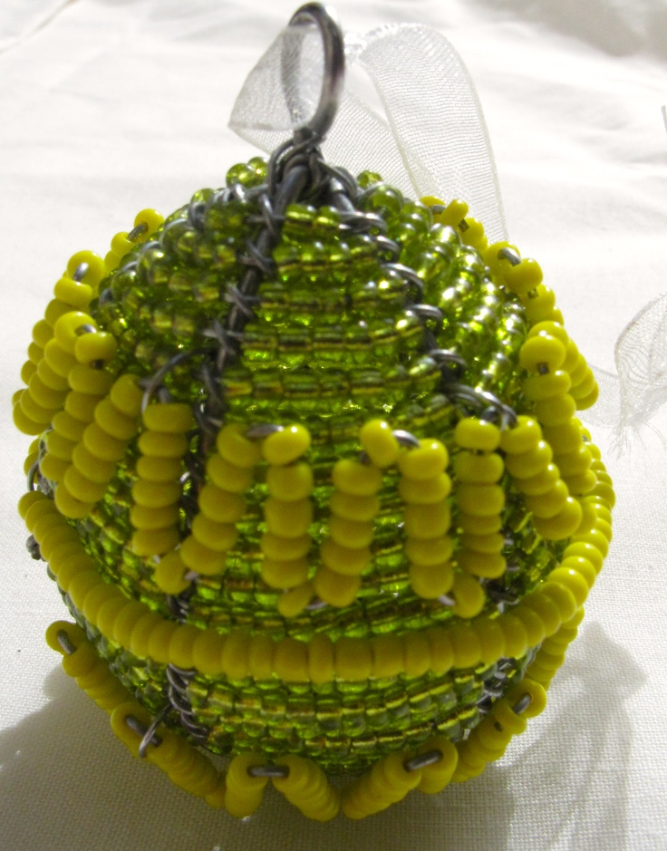 Beaded wire art egg, about 6cm, $8