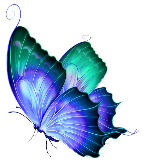Transparent Blue and Green Deco Butterfly PNG Clipart