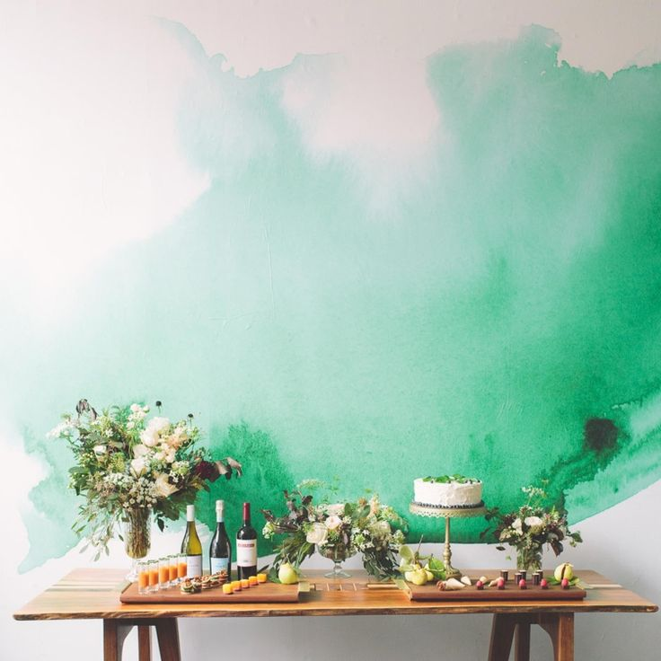 Watercolor Mural. Would be great as one wall in a dining or living room