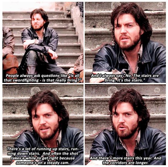 Tom Burke on the most tiring aspect of filming The Musketeers. <3