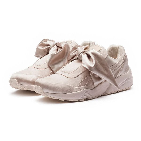 Fenty Puma By Rihanna Trinomic Bandana Satin Sneaker ($160) ❤ liked on Polyvore featuring shoes, sneakers, pink, shoes sneakers, platform trainers, pink satin shoes, pink wedge shoes, wedge heel sneakers and wedge sneakers