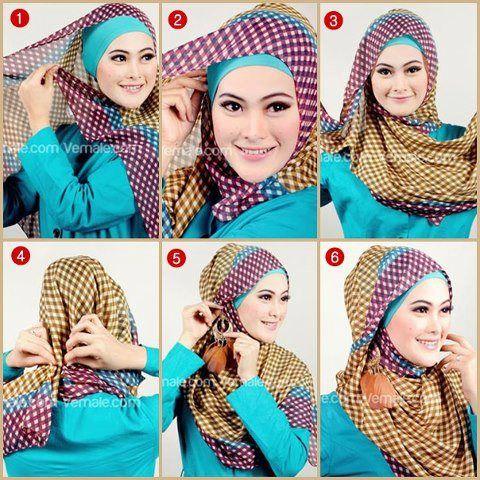Jilbab modern segi empat motif.