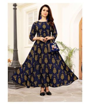 3ca1abe5e772 Elevate Women Navy Poly cotton Anarkali Kurti Price in India - Buy Elevate  Women Navy Poly