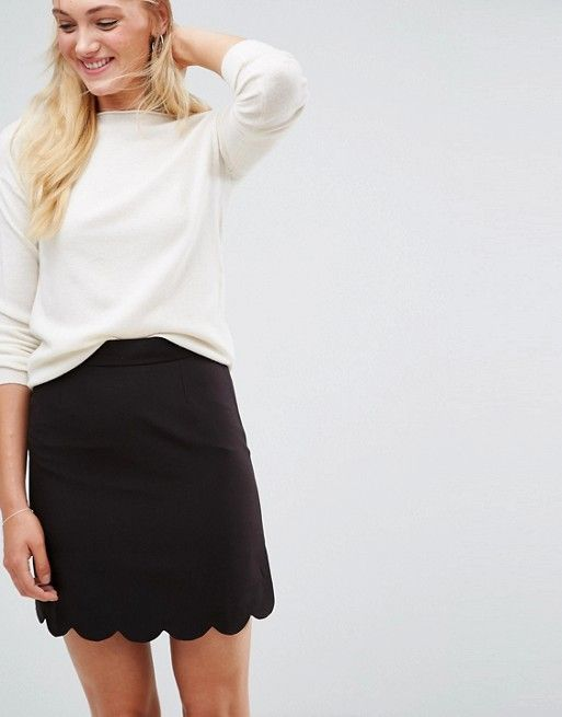 a077d0c312 ASOS DESIGN Tall tailored a-line mini skirt with scallop hem | ASOS