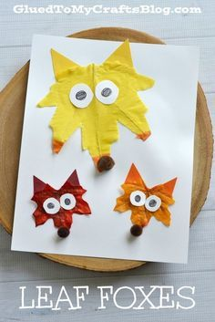 Leaf Foxes. Colorful fall craft for kids.
