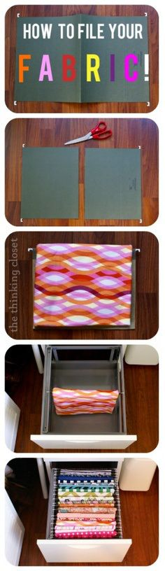 use a hanging file and filing cabinet for store fabric