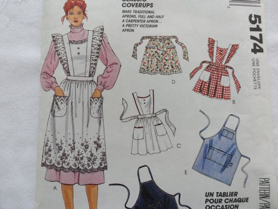 McCalls Sewing Pattern 5174 Mens Apron Pattern Sewing Victorian Apron Carpenter Apron 50s Apron Half Apron with Pockets Full Apron Woman