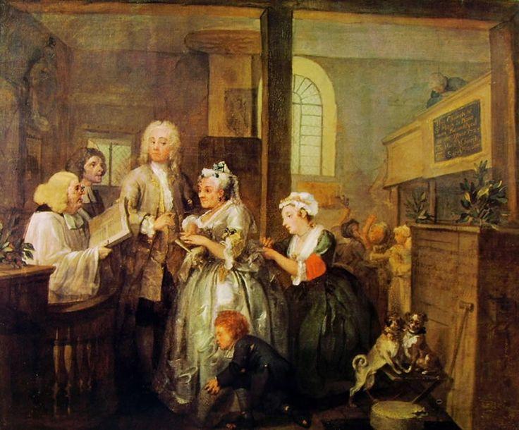 La carriera del Liberino (5) - Il Matrimonio, William Hogarth; 1733-35; olio su tela; Soane's Museum, Londra